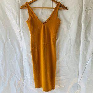 Forever 21 Mustard Bodycon Sleeveless V Neck Dress
